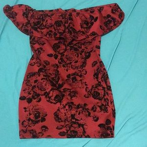 Red and black off the shoulder mini dress